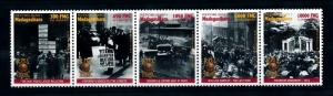 [90846] Madagascar 1998 Titanic Newspapers Monument Horses Strip of Five MNH