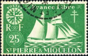 St-PIERRE-&-MIQUELON - 1942 - Yv.298/Mi.301 25c vert-jaune - Oblitéré TB
