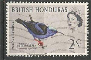 BRITISH HONDURAS , 1962, used..2c, Birds Scott 168