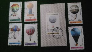 Poland Used S/S & 6 Stamps 2433-9 Hot Air Balloons 1981