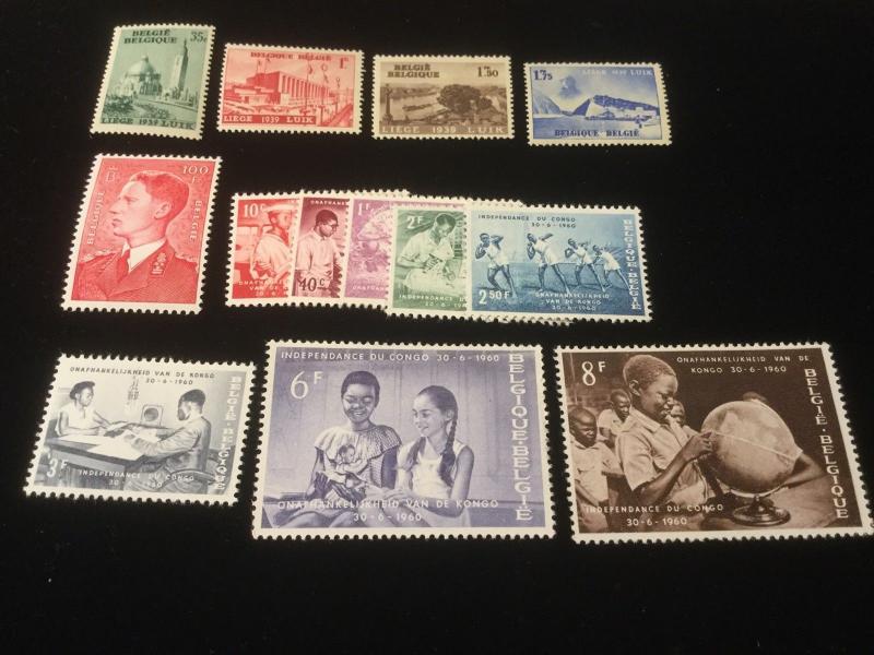 Belgium Stamp Lot Scott 318-21, #450, #545-52 All Mint Never