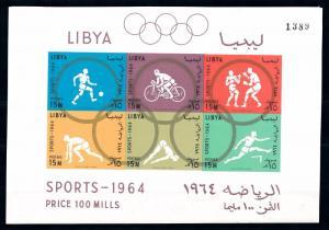 [63186] Libya 1964 Olympic Games Tokyo - Footbal  Cycling Imperf. Sheet MNH
