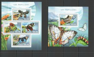 TG539 2014 TOGO FAUNA INSECT BUTTERFLIES LES PAPILLONS KB+BL MNH