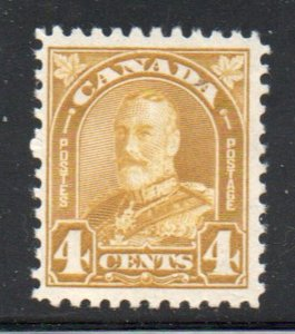 Canada Sc  168 1930 4c yellow bistre  George V stamp mint