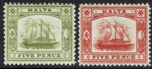MALTA 1904 SHIP 5D BOTH COLOURS WMK MULTI CROWN CA