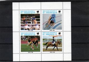 Union Island Seoul Olympics 1988 Shlt(4) MNH Cycling/Hockey