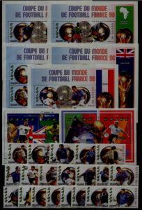 Zaire MNH lot Football-98,20v+7s/s