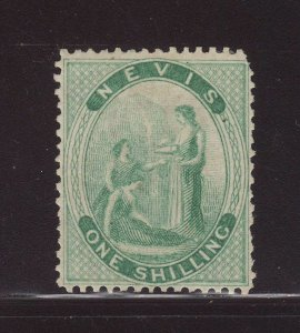 1878 Nevis 1/- Pale Green Perf 15 Mounted Mint SG20