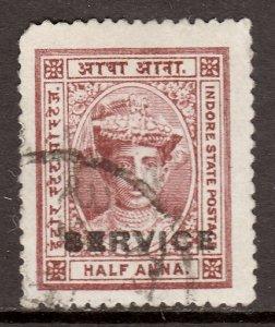 India (Indore) - Scott #O1 - Used - Rounded corner UL - SCV $1.90