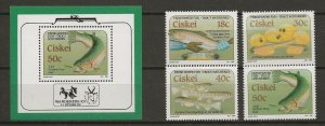 Ciskei MNH S/S & 4 Stamps Fresh Water Trout Marine Life 1989