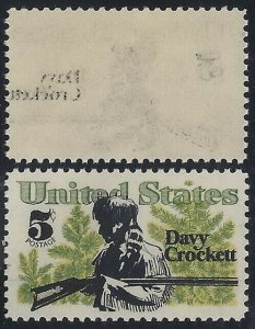 1330 - Black Reverse Offset Error / EFO Davy Crockett Mint NH