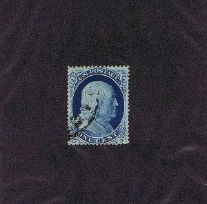 SC# 23 USED 1 CENT FRANKLIN 1857 PARTIAL BLACK C.D.S.CANCEL 2020 PSAG CERT, F-VF