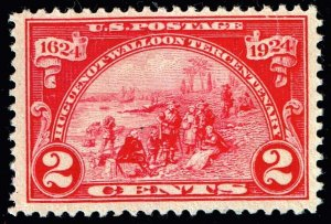 US STAMP #615 1924 Huguenot-Walloon Issue 2¢ Landing  UNUSED NG STAMP