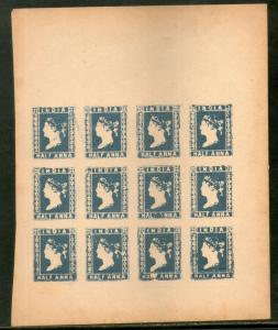 India ½An Blue QV Lithograph sheet of 12 stamps Facsimile print for Reference C