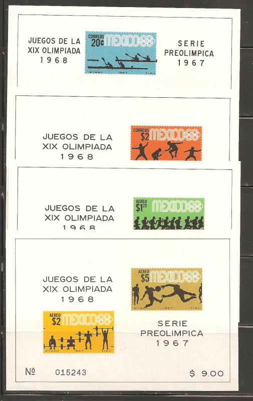 Mexico SC 983a, 985a, C329a, C331a Mint Never Hinged