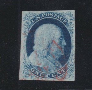 US 8a 5c Franklin Used VF Plate 4 w/ Red Carrier Cancel & PSE Cert SCV $1375