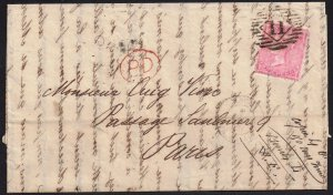GB 1857 4d sg 66a used wrapper 11 [Enfield] [31 Oct 1860] to Paris 1 Nov 1860*