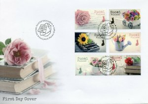 Finland 2019 FDC Say It with Flowers Tulips Roses 6v S/A Cover Flora Stamps