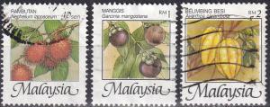 Malaysia #766A, 766D, 766E  F-VF Used CV $18.00  (K2260)