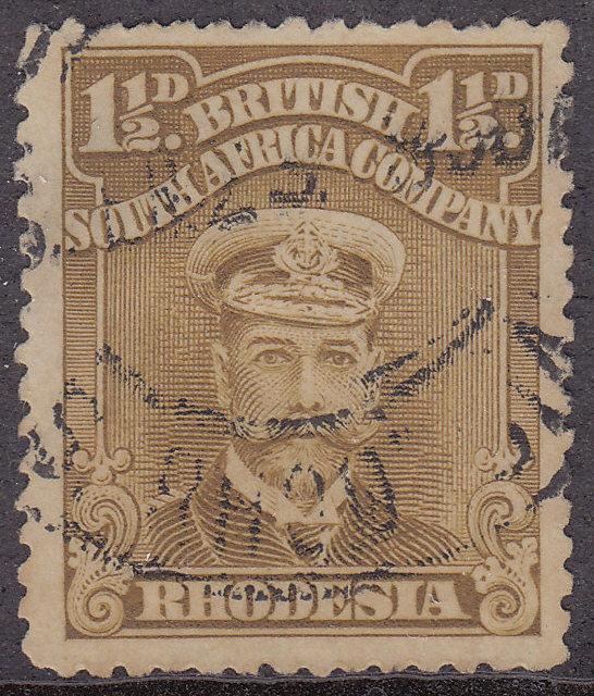 RHODESIA Used Scott # 121 King George V - remnant, pencil # (1 Stamp)