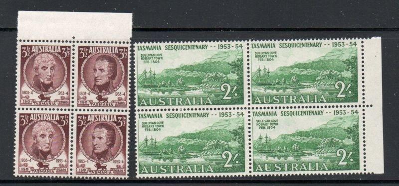 Australia Sc 263-5 1953 Tasmania Anniversary stamp set blocks of 4 mint NH