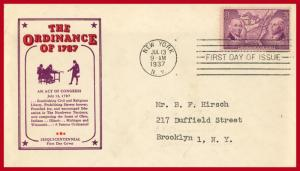 US FDC #795 P35 Northwest Territory Ordinance ~ Ioor Cachet