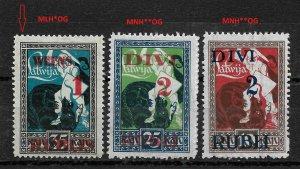 Latvia 1920-21,Surcharged,Scott # 91-93,VF MNH**OG ,old pic, sold !!