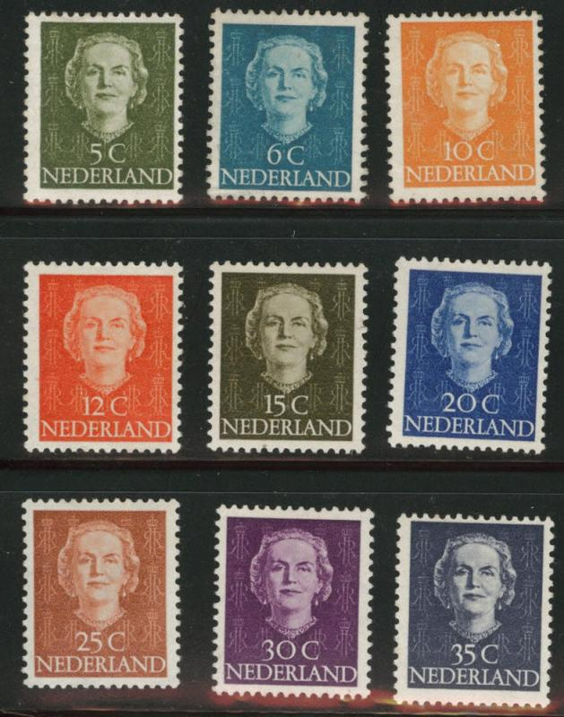 Netherlands Scott 306-314 MH* 1949 Queen Juliana short set