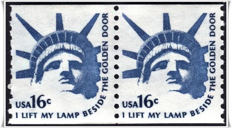 SC#1619 16¢ Statue of Liberty Coil Pair MNH