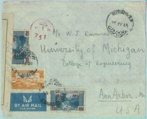 89672  -  LEBANON Liban - POSTAL HISTORY -  CENSORED Airmail COVER  to USA 1945