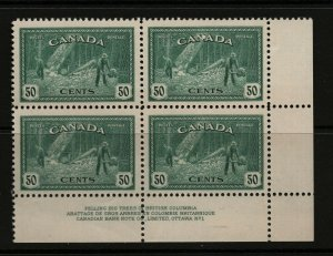 Canada #272 Very Fine Never Hinged Plate #1 Lower Right Block