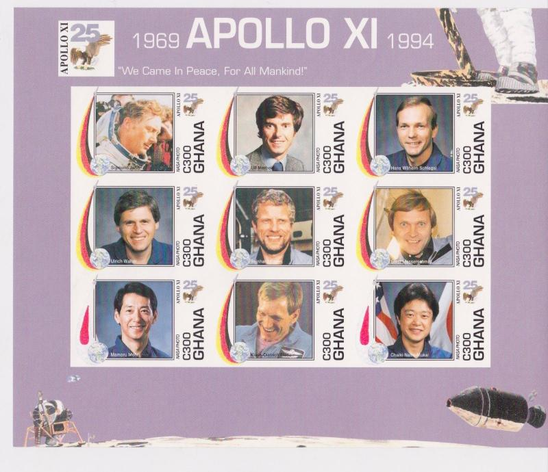 [D*] Ghana - Space Apollo XI, 1994 - Sc 1701 Sheetlet of 9 MNH - IMPER