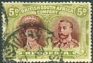 RHODESIA-1910-13 5d Lake-Brown & Green.  A good used with full perfs Sg 143a