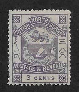 NORTH BORNEO SC# 38  FVF/MOG 1887