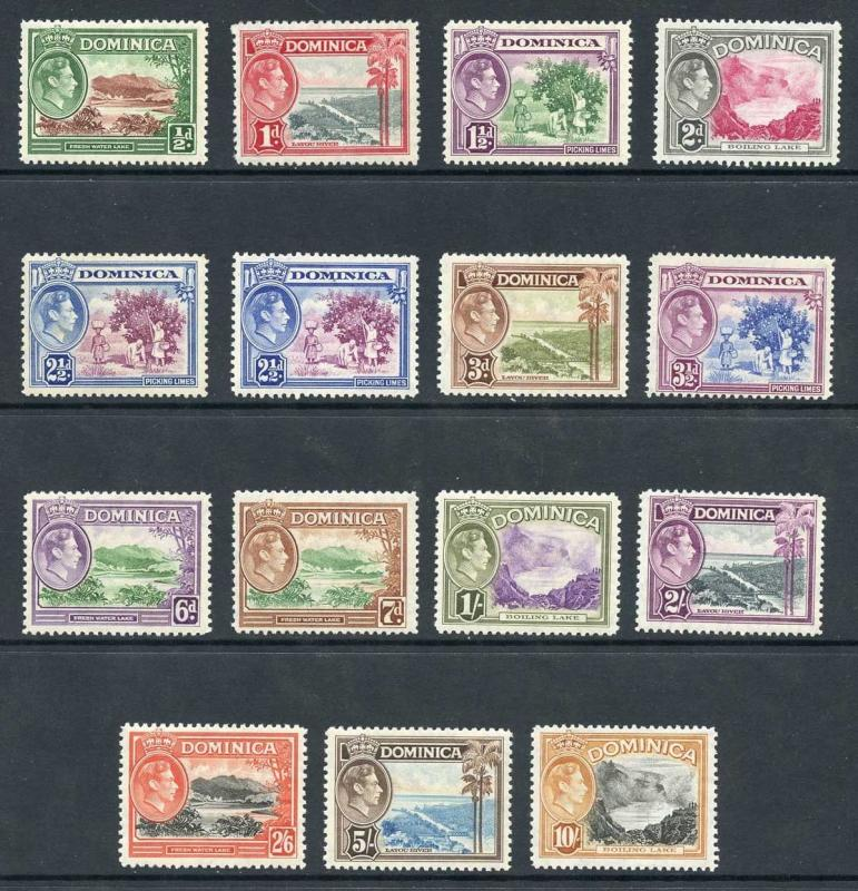 Dominica SG99/108a 1938-47 KGVI Set of 15 with Both 2 1/2d Shades M/M