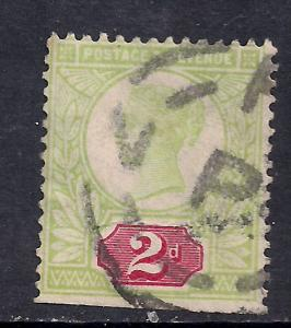 GB 1887 - 92 QV 2d Used Green/Red Jubilee SG 200 ( K737 )