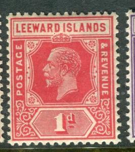LEEWARD ISLANDS; 1921 early GV issue fine Mint hinged 1d. value, Shade