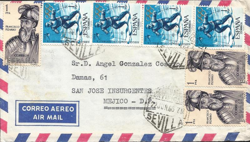 M) 1965, SPAIN, AIR MAIL, FRANCISCO PIZARRO, FOUR STAMPS OF OLYMPIC GAMES IN INN