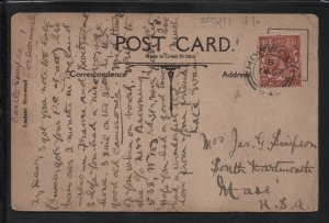Castle Semple Picture Postcard From UK To USA BW Postal Card with 1½ Stamp F