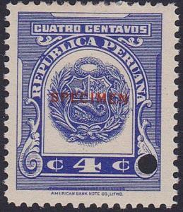 PERU 1915-16 4c mint SPECIMEN...............................................7960