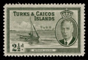 TURKS & CAICOS ISLANDS GVI SG225, 2½d grey-olive, M MINT.