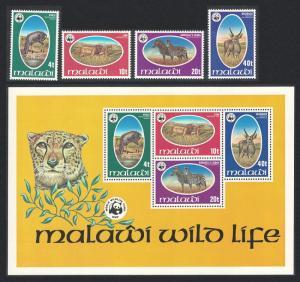 Malawi WWF Endangered species 4v+MS SG#567-MS571 MI#297-300 SC#319-322