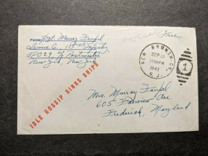 APO 29 NJ 1942 WWII Army Cover 115th Infantry IDLE GOSSIP SINKS SHIPS Cachet