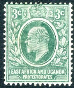 EAST AFRICA & UGANDA-1907-08 3c Blue-Green Sg 35a  MOUNTED MINT V14921