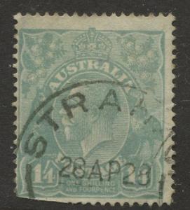 Australia - Scott 37 - KGV Head -1914 - Used - Wmk 9 - Single 1/4p Stamp