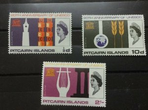 Pitcairn Islands Sc# 64-66 UNESCO 1966 Complete Set MNH