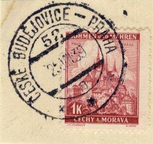 BÖHMEN u. MAHREN - 1939 ČESKÉ BUDĚJOVICE - PRAHA * * *  TPO n°52a CDS on Mi.28