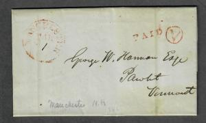 Manchester NH March 30 1846 Contents Paid V Circle Stampless Cover