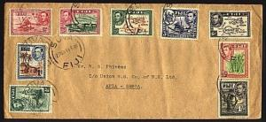 FJI 1944 cover with various GVI to 1/- Suva to Samoa.......................95578
