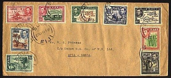 FJI 1944 cover with various GVI to 1/- Suva to Samoa.......................95578